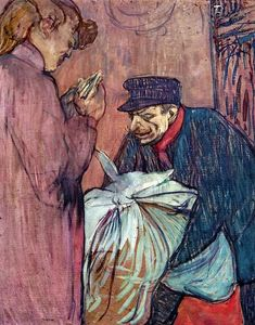 Henri De Toulouse Lautrec - The Laundryman Calling at the Brothal