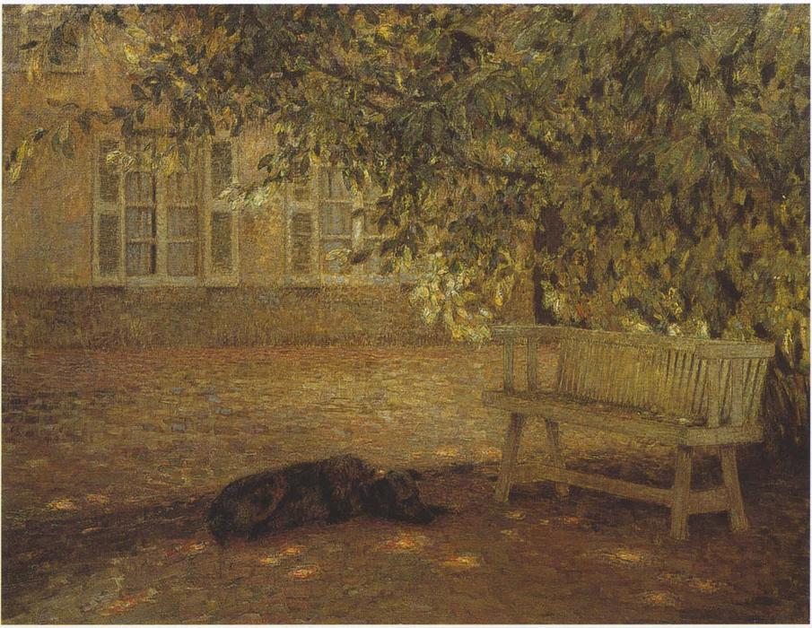 Le banc, Oil On Canvas by Henri Eugène Augustin Le Sidaner (1862-1939, Mauritius)