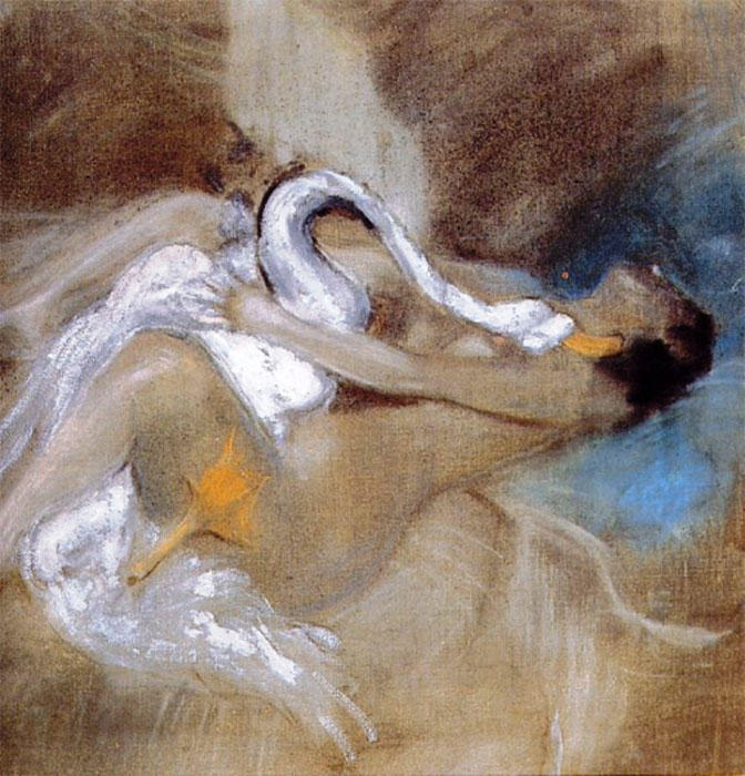 Leda with Swan by Giovanni Boldini (1842-1931, Italy) | Paintings Reproductions Giovanni Boldini | WahooArt.com
