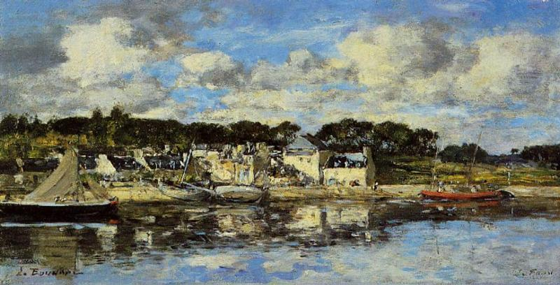 Le Faou: The Village and the Port on the River, 1872 by Eugène Louis Boudin (1824-1898, France) | Art Reproduction | WahooArt.com