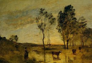 Jean Baptiste Camille Corot - Le Gue (also known as Cows on the Banks of the Gue)