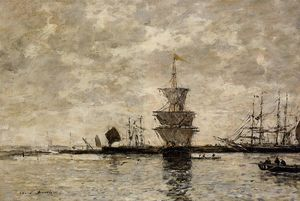 Eugène Louis Boudin - Le Havre, the Quarentine Basin