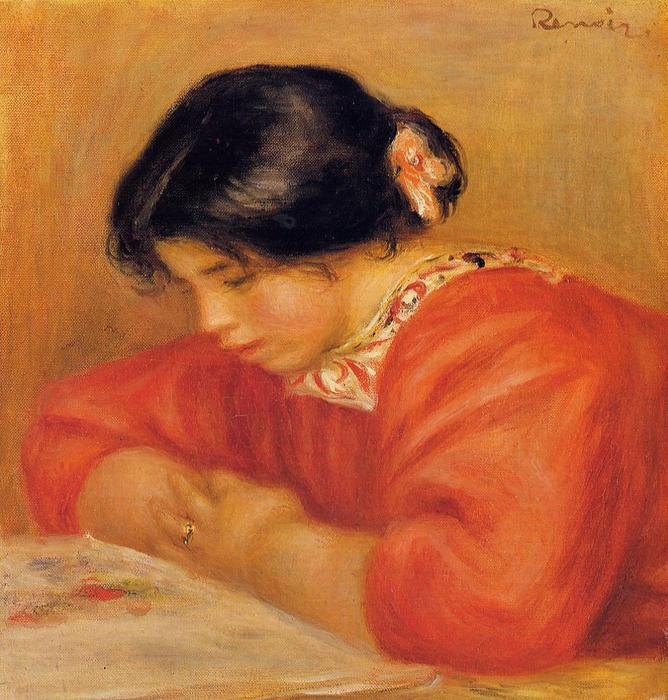 Leontine Reading, 1909 by Pierre-Auguste Renoir (1841-1919, France) | Museum Quality Reproductions | WahooArt.com