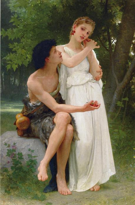 Le Premiers Bijoux (also known as Her First Jewels), 1891 by William Adolphe Bouguereau (1825-1905, France) | WahooArt.com