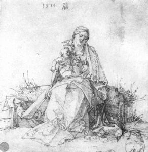 Albrecht Durer - Madonna and child on the grassy bank