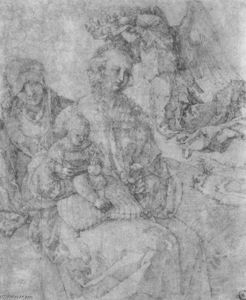 Albrecht Durer - Mary and Child, crowned by an angel and St. Anna