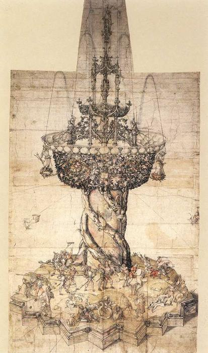 Sketch of a Table Fountain by Albrecht Durer (1471-1528, Italy) | Museum Art Reproductions Albrecht Durer | WahooArt.com