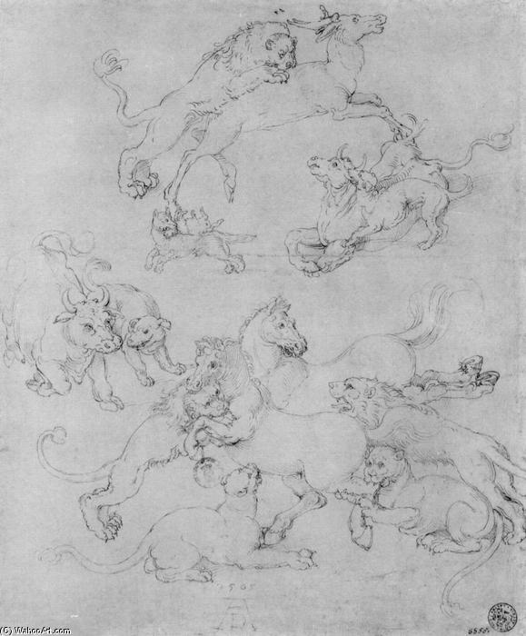 Study sheet with the attacked animals by Albrecht Durer (1471-1528, Italy) | Museum Quality Reproductions | WahooArt.com