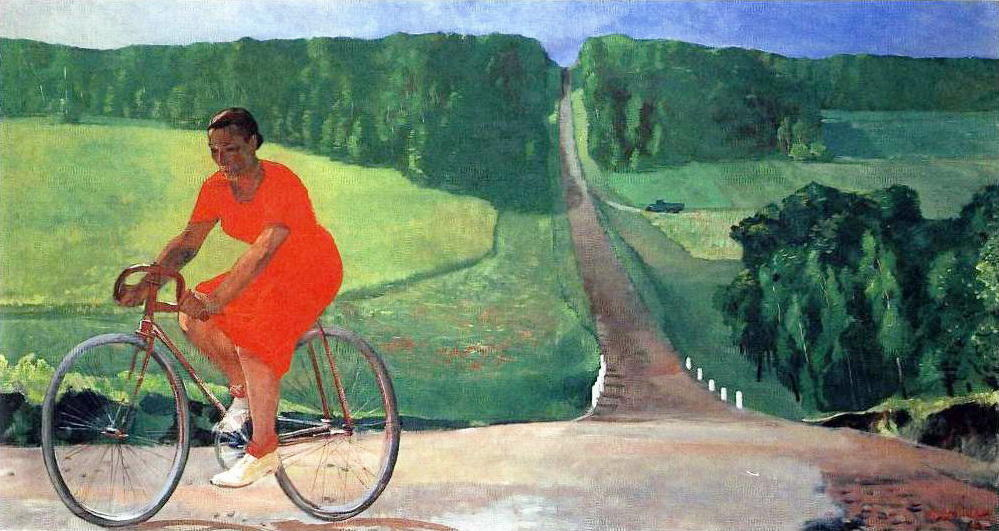 Collective Farm Girl on a bike, 1935 by Aleksandr Deyneka (1899-1969, Russia)