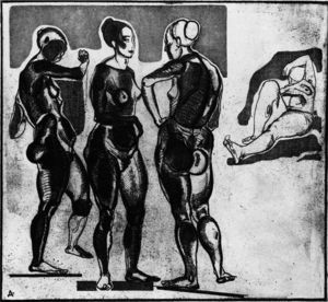 Aleksandr Deyneka - Female figures. Etching