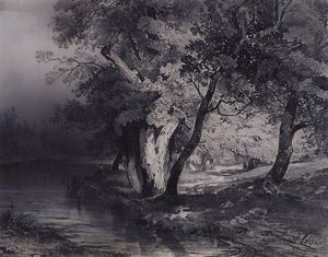 Aleksey Savrasov - Forest near the lake, illuminated by the sun
