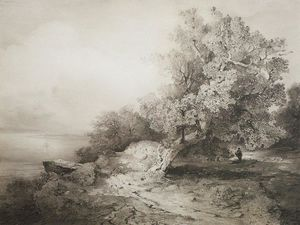 Aleksey Savrasov - Old oak tree at the cliff above the river