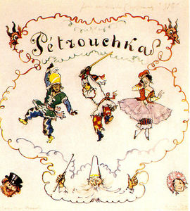 Alexandre Benois - Petrushka. Poster scetch