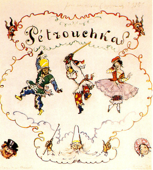 Petrushka. Poster scetch, Gouache by Alexandre Benois (1870-1960, Russia)