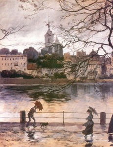 Alexandre Benois - Ray Embankment in Basel in the rain