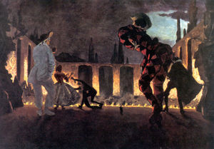Alexandre Benois - Italian comedy. ''Indiscreet Punchinello''