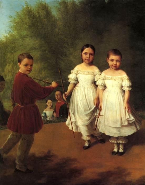 Panaevs children, Oil On Canvas by Alexey Venetsianov (1780-1847, Russia)
