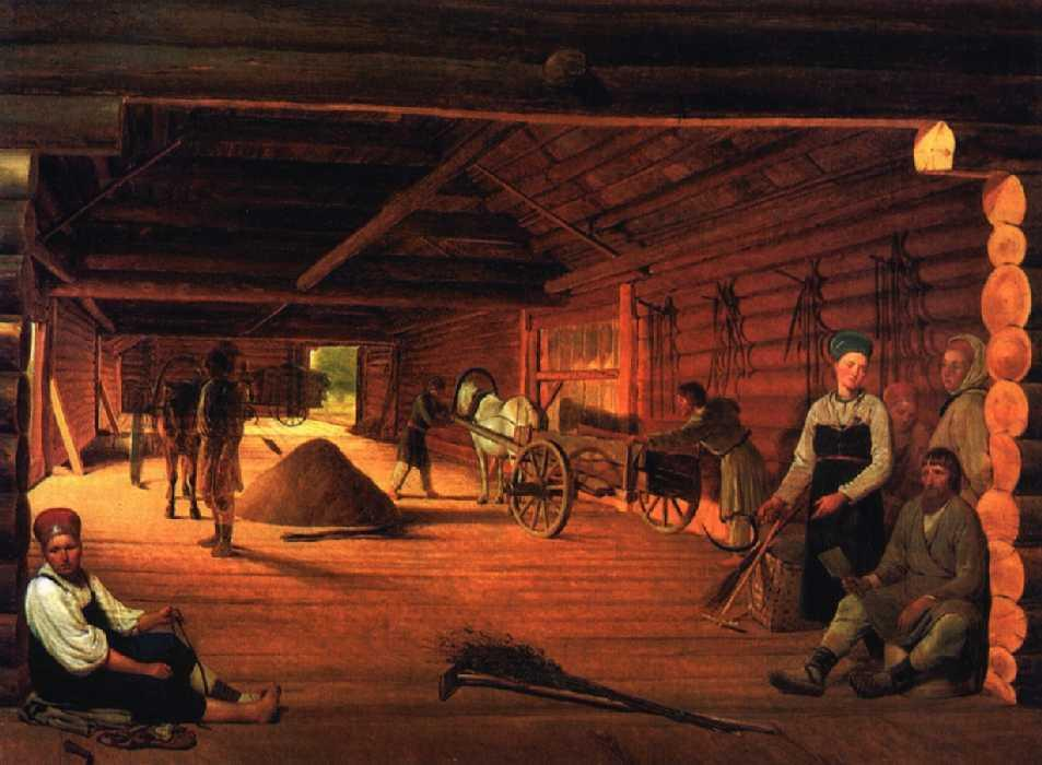 Threshing-Floor, Oil On Canvas by Alexey Venetsianov (1780-1847, Russia)