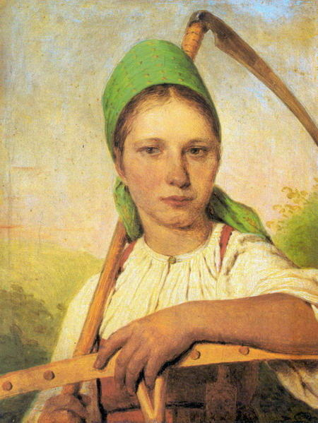 A Peasant Woman with Scythe and Rake, Oil On Canvas by Alexey Venetsianov (1780-1847, Russia)