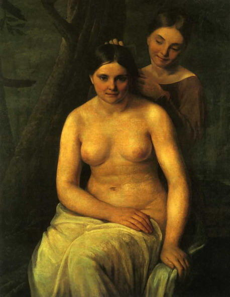 Bather, Oil On Canvas by Alexey Venetsianov (1780-1847, Russia)