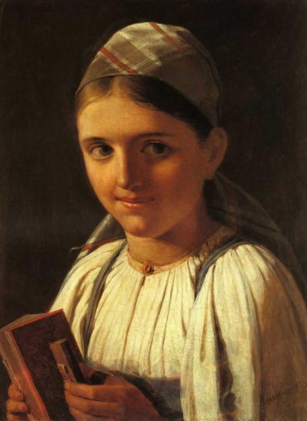 Girl with Accordion, 1840 by Alexey Venetsianov (1780-1847, Russia)