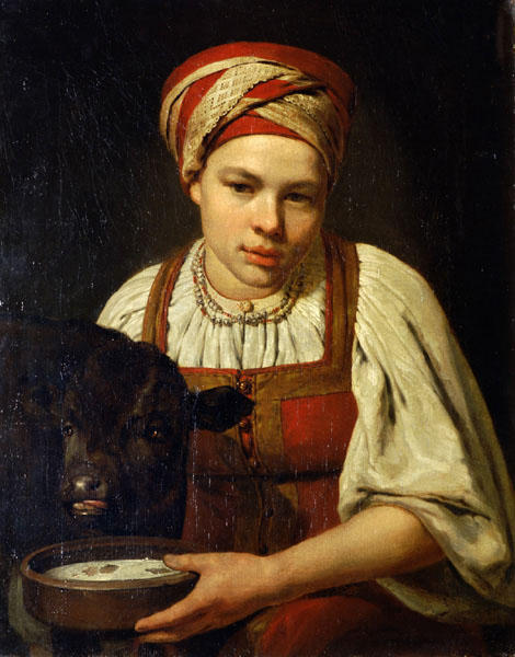 A Peasant Girl with a Calf by Alexey Venetsianov (1780-1847, Russia) | Oil Painting | WahooArt.com