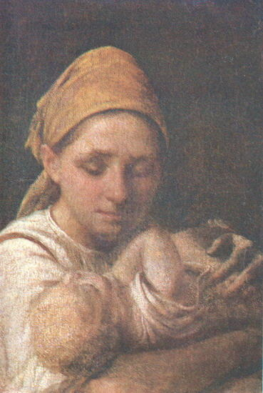 A Peasant Woman with a Child by Alexey Venetsianov (1780-1847, Russia) | WahooArt.com
