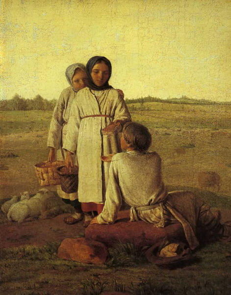 Peasant Children in the Field by Alexey Venetsianov (1780-1847, Russia) | Museum Quality Reproductions | WahooArt.com