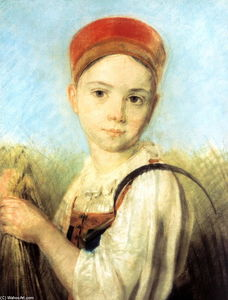 Alexey Venetsianov - Peasant Girl with a Sickle in the Rye