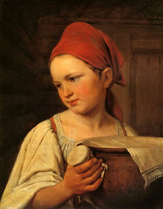 Peasant Woman with Milk by Alexey Venetsianov (1780-1847, Russia) | Art Reproduction | WahooArt.com