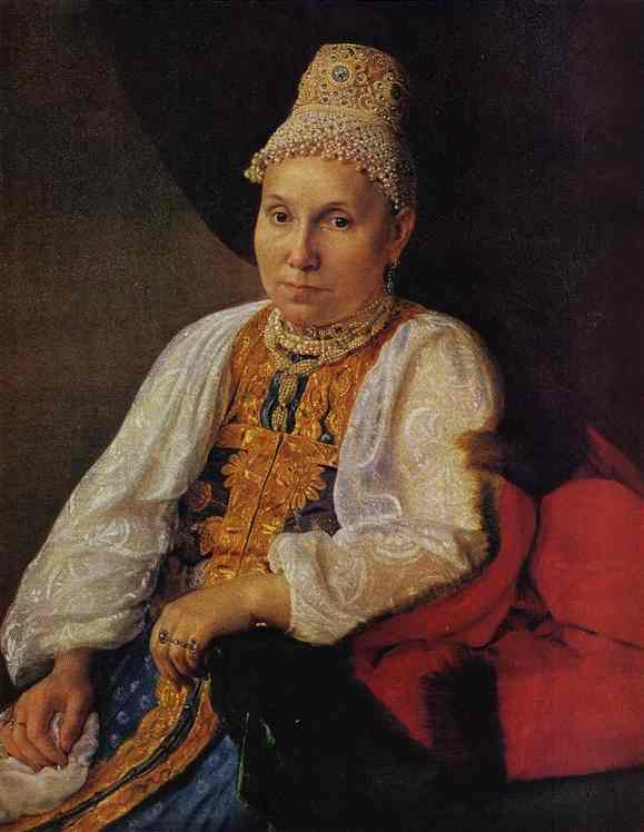 Portrait of the Merchant`s Wife Obraztsova by Alexey Venetsianov (1780-1847, Russia) | Museum Quality Reproductions | WahooArt.com