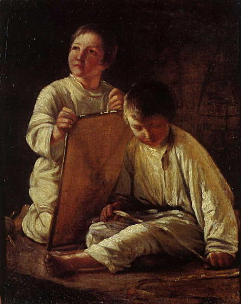 Two Peasant Boy with a kite by Alexey Venetsianov (1780-1847, Russia) | WahooArt.com