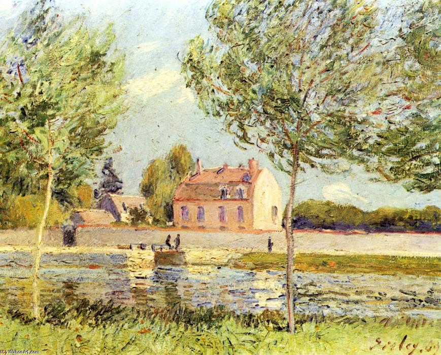 Houses on the banks of the Loing, Oil On Canvas by Alfred Sisley (1839-1899, France)