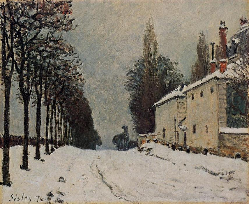 Snow on the Road, Louveciennes (Chemin de la Machine), 1874 by Alfred Sisley (1839-1899, France) | Painting Copy | WahooArt.com