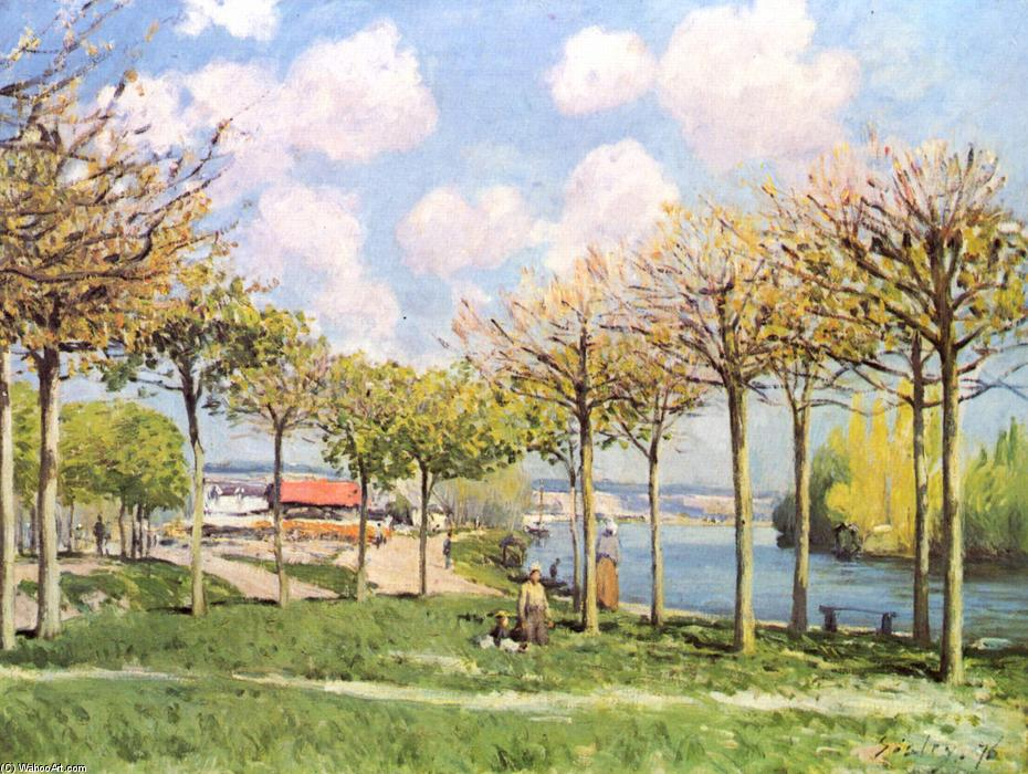 The Seine at Bougival, Oil On Canvas by Alfred Sisley (1839-1899, France)