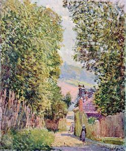 Alfred Sisley - A Street in Louveciennes