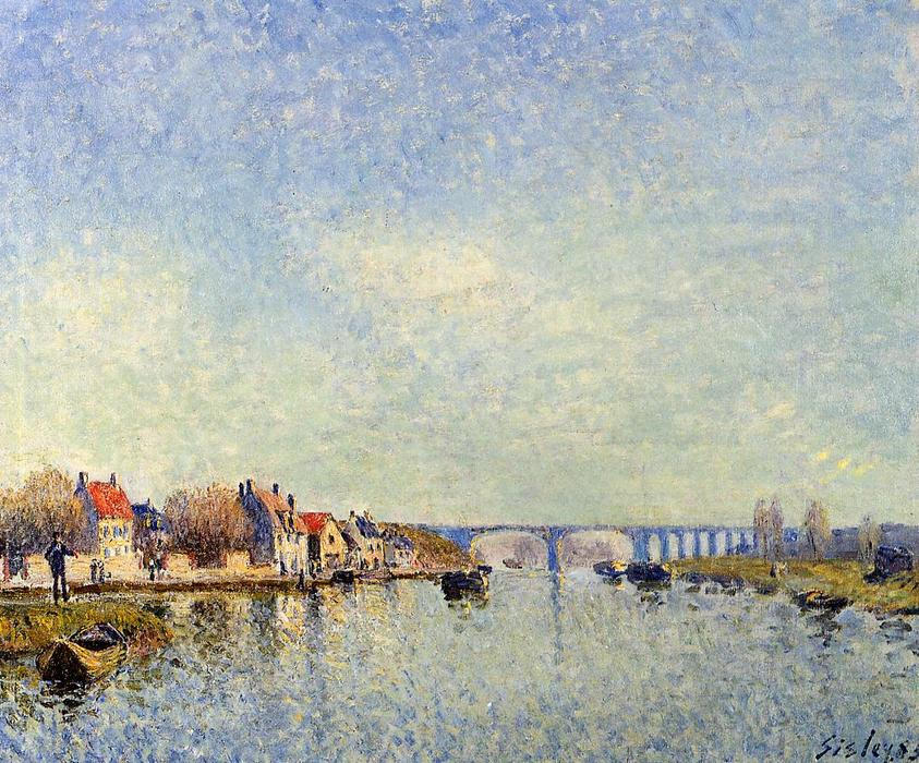 Banks of the Loing at Saint Mammes, Oil On Canvas by Alfred Sisley (1839-1899, France)