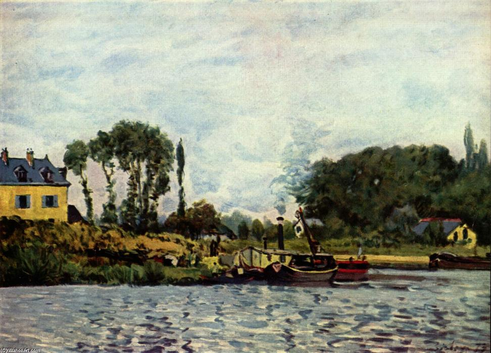 Boats at Bougival, Oil On Canvas by Alfred Sisley (1839-1899, France)