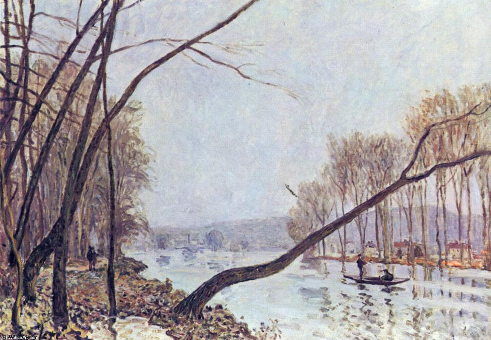 Bank, in the autumn, Oil On Canvas by Alfred Sisley (1839-1899, France)