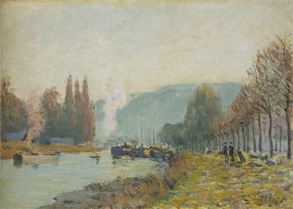 Order Art Reproduction : The Seine at Bougival, 1872 by Alfred Sisley (1839-1899, France) | WahooArt.com