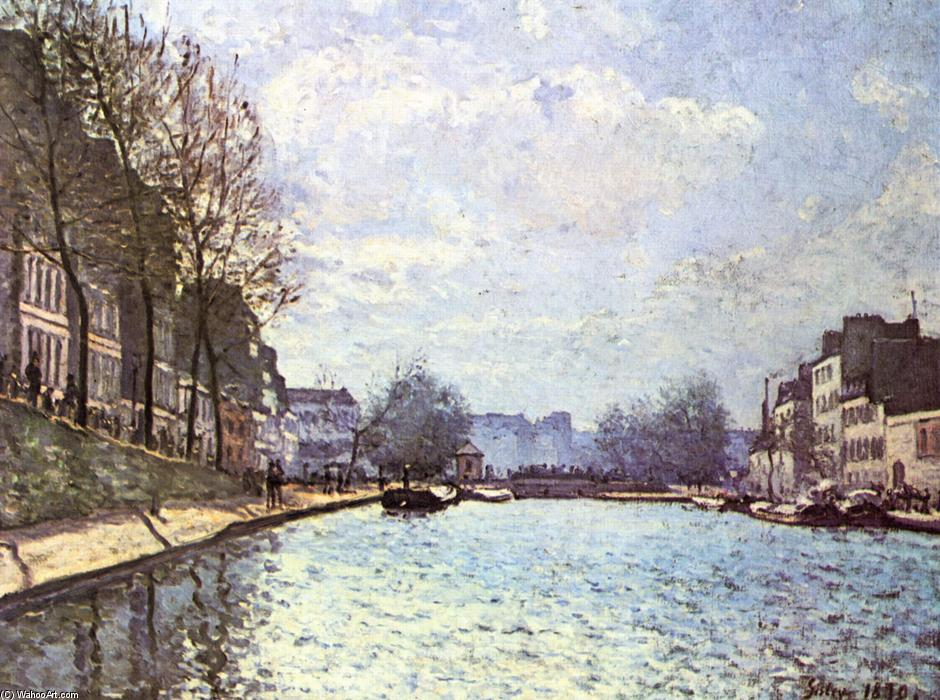 View of the Canal Saint Martin, 1870 by Alfred Sisley (1839-1899, France) | Famous Paintings Reproductions | WahooArt.com