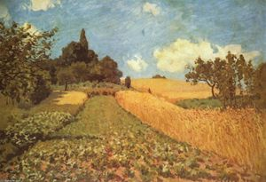 Order Famous Paintings Reproductions : Cornfield, 1873 by Alfred Sisley (1839-1899, France) | WahooArt.com
