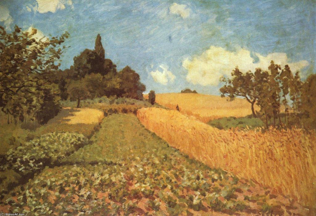 Cornfield, 1873 by Alfred Sisley (1839-1899, France) | Famous Paintings Reproductions | WahooArt.com