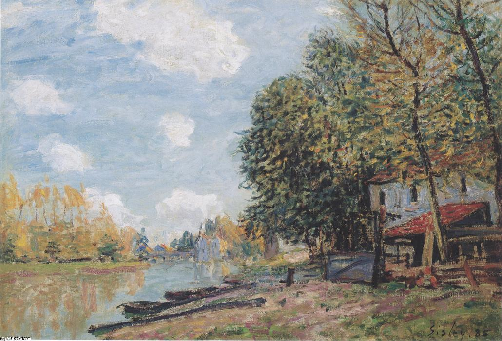 The banks of the Loing Moret, Oil On Canvas by Alfred Sisley (1839-1899, France)