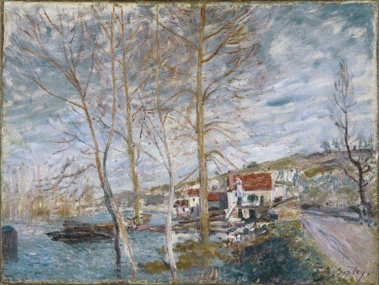 Flood at Moret, Oil On Canvas by Alfred Sisley (1839-1899, France)