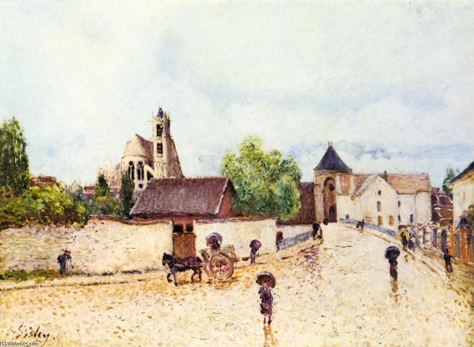 Loing at Moret in the rain, Oil On Canvas by Alfred Sisley (1839-1899, France)