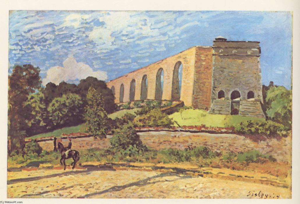 The Aqueduct at Marly, Oil On Canvas by Alfred Sisley (1839-1899, France)