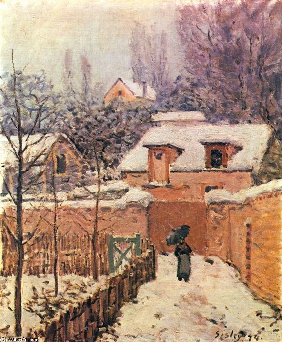 Garden in Louveciennes in the Snow, Oil On Canvas by Alfred Sisley (1839-1899, France)