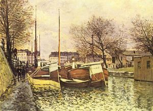 Alfred Sisley - Barges on the Canal Saint Martin in Paris
