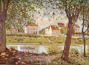 Alfred Sisley - Village on the banks of the Seine